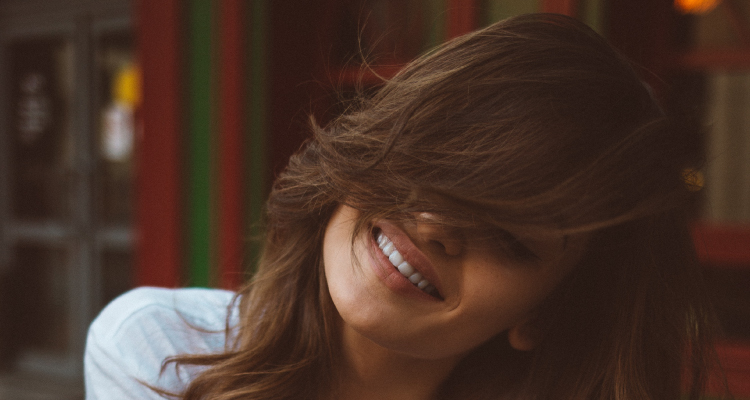 smiling woman with beautiful hair