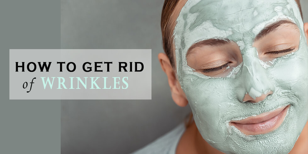 Woman with face mask getting rid of wrinkles