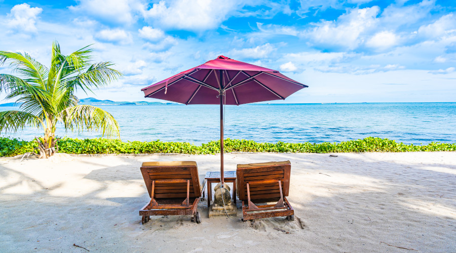 Beach with palm trees and umbrella