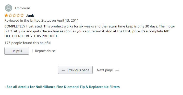 Negative user review of NuBrilliance