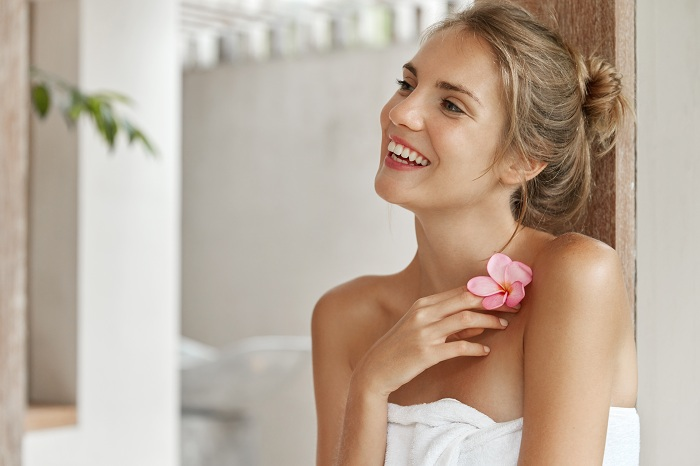 pretty woman with fine smooth skin at the spa