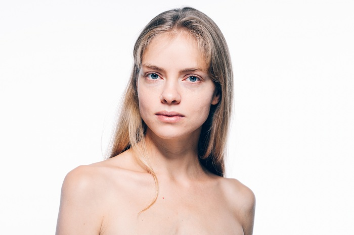 Woman tired face skin